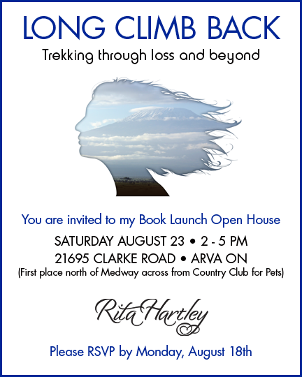 Rita Hartley's book launch is Saturday, August 23rd