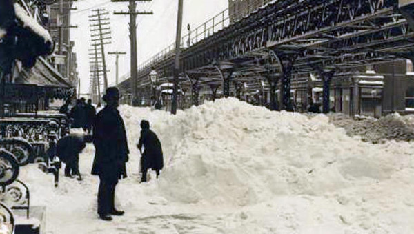 63rd Street and Third Avenue during the Great Blizzard of 1888.